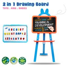 2 in 1 Drawing Board 2 Side Easel Standing Educational Learning Kids 8