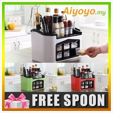 Kitchen Seasoning Spice Condiment Box Organizer Cutlery Shelf Rack Sto