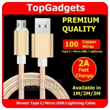 Woven 1M/2M/3M Micro USB/Type C/Lightning Fast Charging/Data Cable