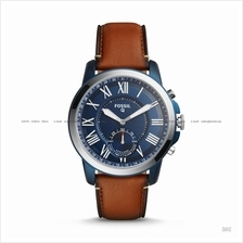 FOSSIL FTW1147 Men's Q Grant Hybrid Smartwatch Leather Blue Brown