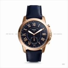 FOSSIL FTW1155 Men's Q Grant Hybrid Smartwatch Leather Strap Navy