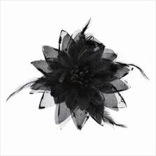 STYLISH LILY OVERSIZE FLORAL DESIGN GIRLS HAIR PIN (BLACK)