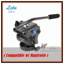 Letu LS-4 Fluid Video Head with Quick Release Plate Manfrotto Tripod