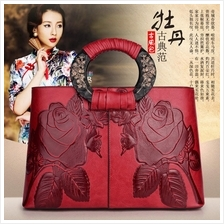 563092977208 new Chinese style retro rose shoulder handbag