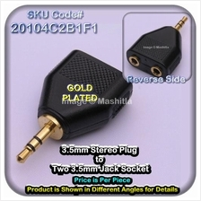 [20104CG] 3.5mm Stereo Plug Two Jack Socket Gold Plated Sl