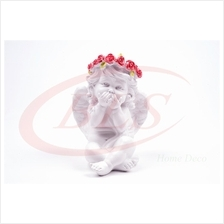 POLYRESIN WHITE COLOR SITTING ANGEL H 13 CM WITH WINGS