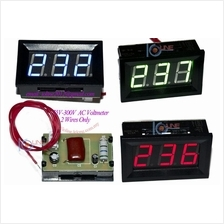 AC 60V-500V 3 color Digital voltmeter meter 2 wire mini panel mount