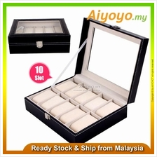 10 Slot PU Leather Watch Jewellery Storage Display Box Collection Cont