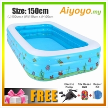 (L)150x(W)110x(H)50cm Inflatable 3 Rings Swimming Pool Family Children