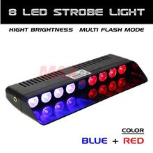 8 LED Dashboard Emergency Warning Flashing Strobe Light (RED BLUE)