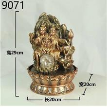 WATER FOUNTAIN GANESHA FAMILY 9071 FEATURE FENG SHUI HOME DECORATION