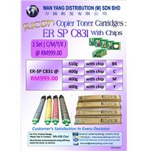 Ricoh ER-SP C831-with CHIPS CMYK-Copier Toner Cartridge .