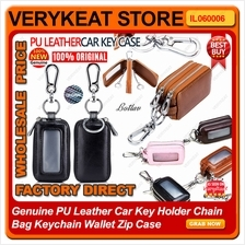 Genuine PU Leather Car Key Holder Chain Bag Keychain Wallet Zip Case