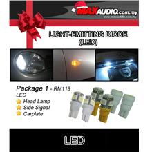 *PACKAGE 1* SHILONG T10 Head Lamp, Side Signal & Carplate LED Bulb