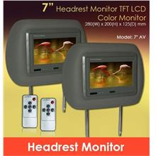 7' Digital HD Quality TFT Grey Headrest Monitor 1 Pair Made In Taiwan