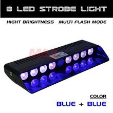 8 LED Dashboard Emergency Warning Flashing Strobe Light (BLUE BLUE)