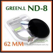 ORIGINAL GREEN.L 62MM Neutral Density ND8 LENS FILTER