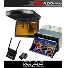 DLAA 7' HD Motorized Double Din DVD TV Player w/ GPS + 9' Roof Monitor