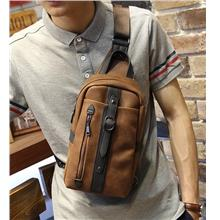 Men Retro Crazy Horse PU Leather Sling Bag (Brown)