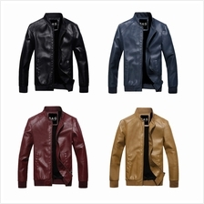 DOLLYPOODY Men Slim Fit Thicken Suede Leather Winter Jacket