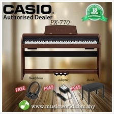 CASIO PX-770 88 Key Digital Piano Brown with Bench and Headphone (PX77