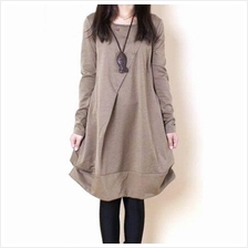 CASUAL SCOOP NECK LONG SLEEVES SOLID COLOR PLEATED DRESS FOR WOMEN M
