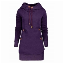 TUNIC HOODIE DRESS WITH POCKET AND DRAWSTRING (CONCORD) M