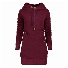 TUNIC HOODIE DRESS WITH POCKET AND DRAWSTRING (WINE RED) M