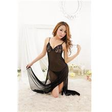 [EH1750-16198BK] Glamour Lace Long Sexywear + T-panties (Black)