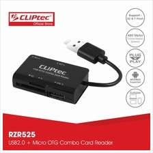 CLiPtec MOBILE COMBO USB + Micro OTG Combo Card Reader RZR525)