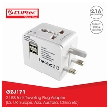 CLiPtec Universal Travelling Plug Adaptor with 2 USB ports GZJ171)