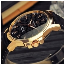 Leather Strap Quartz Wristwatch Luxury Mens Business