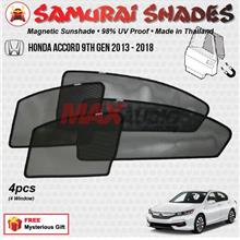 HONDA ACCORD 2013-2018 (4pcs) SAMURAI SHADES 100% Magnetic Sun Shades