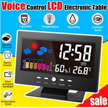 Voice Control LCD Digital Alarm Clock With Weather Station Electronic