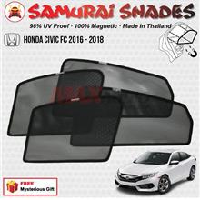 HONDA CIVIC FC 2016-18 (4pcs) SAMURAI SHADES 100% Magnetic Sun Shades