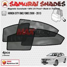 HONDA CITY 2007 - 2013 (4pcs) SAMURAI SHADES 100% Magnetic Sun Shades
