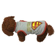 Dog T-Shirt for Small Dogs Super Man Design M Size Grey