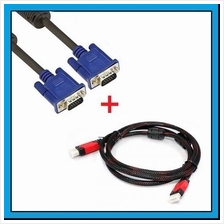Premium High Quality 1.5m VGA Cable + HDMI Cable with Cover Cap