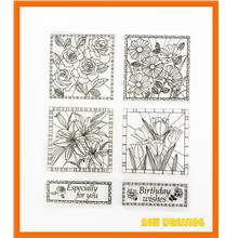 CS200 - Flower Square Frame Clear Stamp