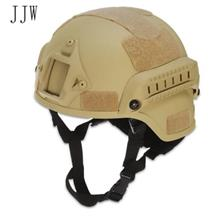 JJW TACTICAL MILITARY AIRSOFT PAINTBALL HELMET WITH MOUNT RAIL (KHAKI)