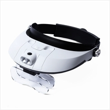 2 Detachable LED Headband Illuminated Magnifier with 5 Replaceable lens