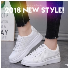 2018 New Spring and Summer White Shoes Woman Flat PU Leather