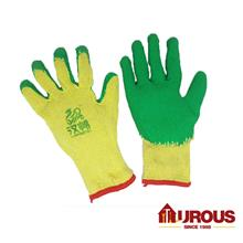 Safety Protective Latex Coated Cotton Hand Glove Pvc Grip Palm Yellow/Green