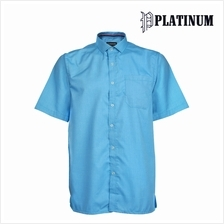 PLATINUM BIG SIZE Plain Microfiber + Cotton Shirt PM8249 (Blue)