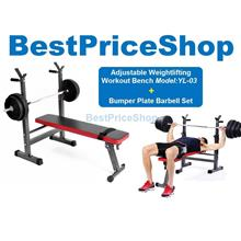 YL-03 Multifunction Weightlifting GymBench & 30kg Bumper Barbell Set