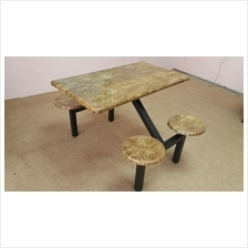 Food Court Table 4 Seater w/o Backrest (Wooden Grain)