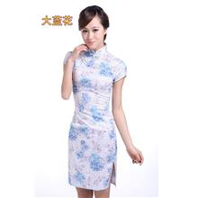 QML3844 New retro-improvement fashion short cheongsam Large white orch
