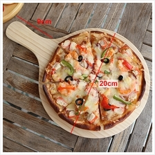 Solid Wood Round Pizza Peel Paddle Bread Cupcakes Serving Tray 20cm