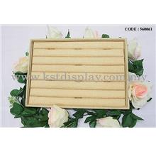 LINEN + WOODEN BASE RING DISPLAY TRAY FOR DISPLAY