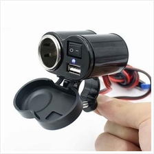 CS-313 12V - 24V MOTORCYCLE SCOOTER HANDLEBAR CLAMP WATERPROOF USB CIG
